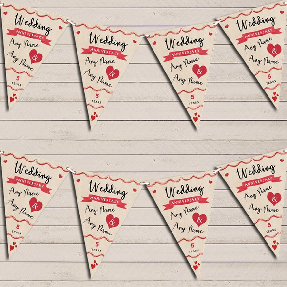 Party Decoration 5th Wedding Anniversary Bunting Garland Party Banner