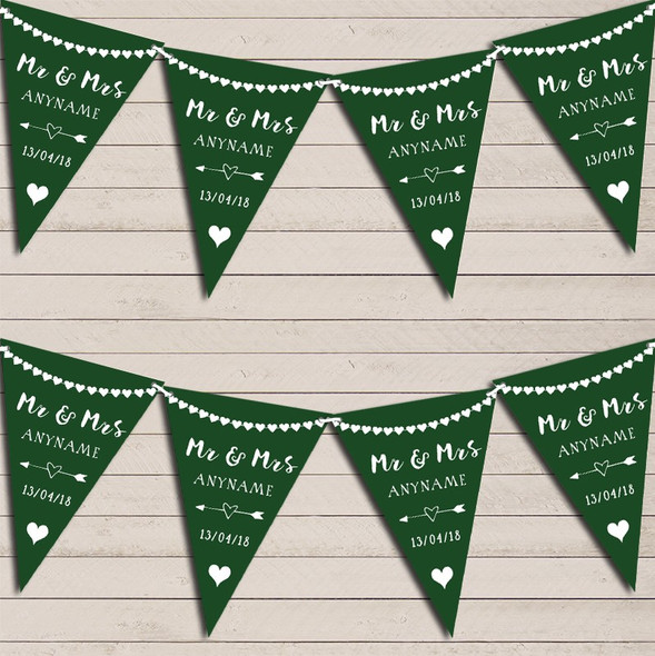 Heart Mr & Mrs Forest Green Wedding Anniversary Bunting Party Banner