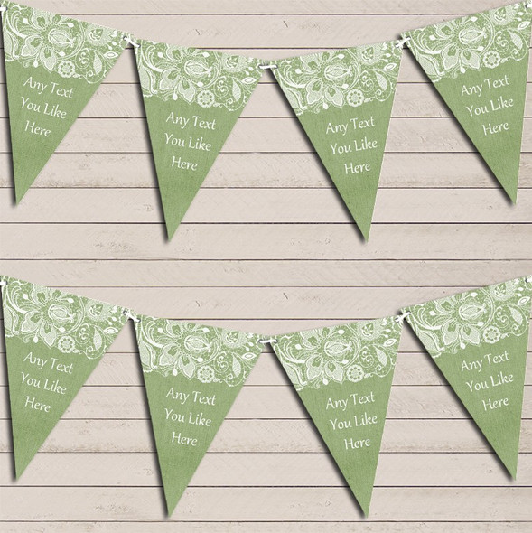 Burlap & Lace Green Wedding Anniversary Bunting Garland Party Banner