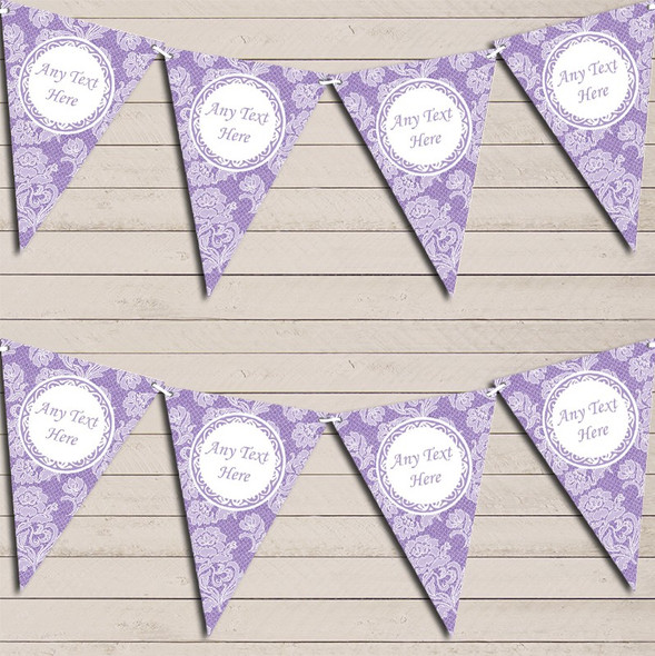 Lace Pattern Purple Wedding Anniversary Bunting Garland Party Banner