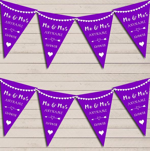 Heart Mr & Mrs Deep Purple Wedding Anniversary Bunting Party Banner