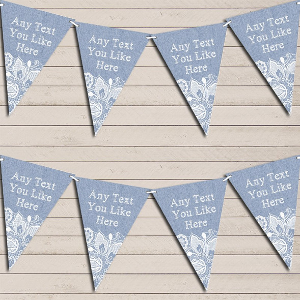 Blue Burlap & Lace Wedding Anniversary Bunting Garland Party Banner