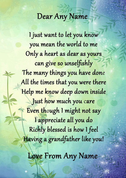 Green & Blue Grandfather Personalised Poem Certificate