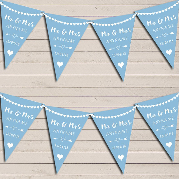 Heart Mr & Mrs Baby Blue Wedding Anniversary Bunting Party Banner
