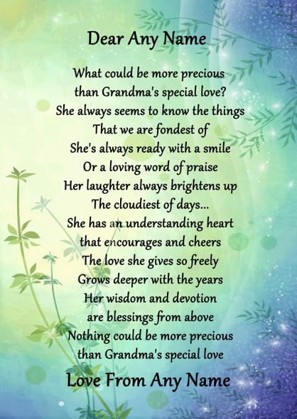 Green & Blue Grandmas Special Love Personalised Poem Certificate