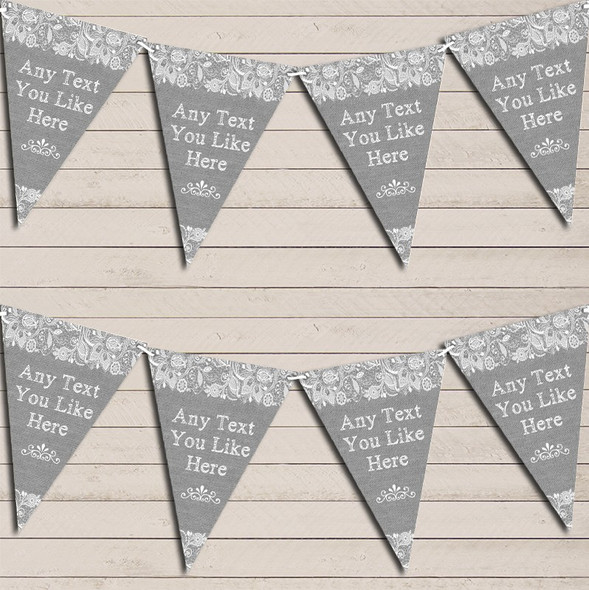 Pretty Lace Grey Wedding Anniversary Bunting Garland Party Banner