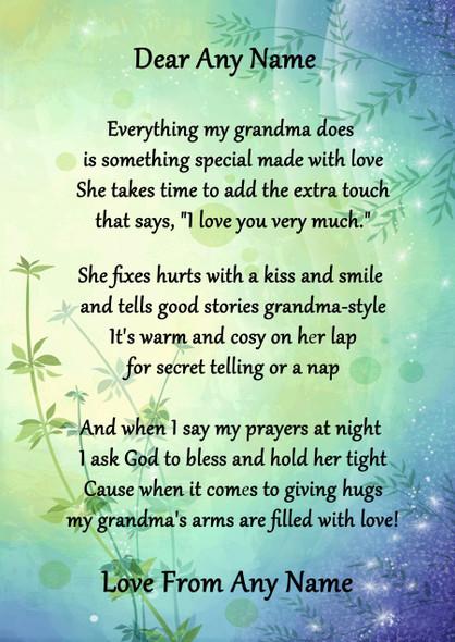 Green & Blue My Grandma Personalised Poem Certificate
