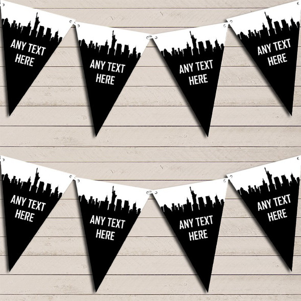Black & White New York Skyline Birthday Bunting Garland Party Banner