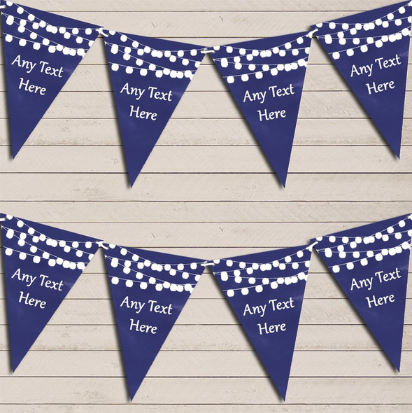 Navy Blue Watercolour Lights Birthday Bunting Garland Party Banner
