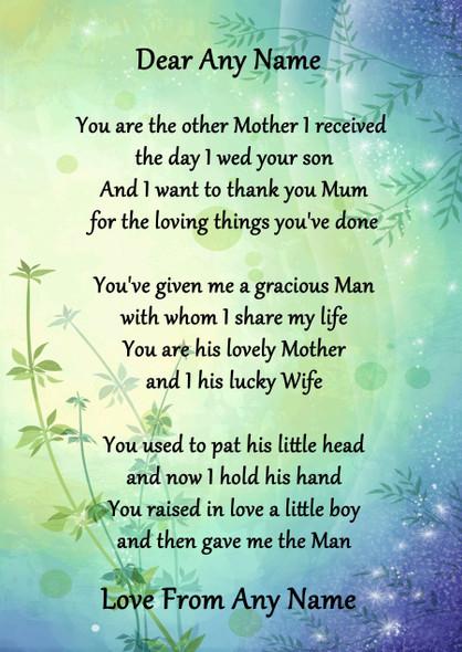 Green & Blue My Husbands Mum Personalised Poem Certificate
