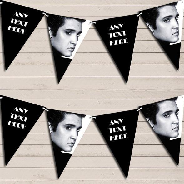 Black & White Elvis Presley Birthday Bunting Garland Party Banner