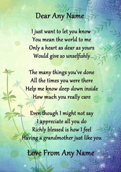 Green & Blue My Lovely Grandmother Personalised Poem Certificate