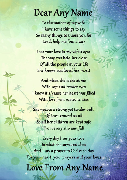 Green & Blue My Wife's Mother Personalised Poem Certificate