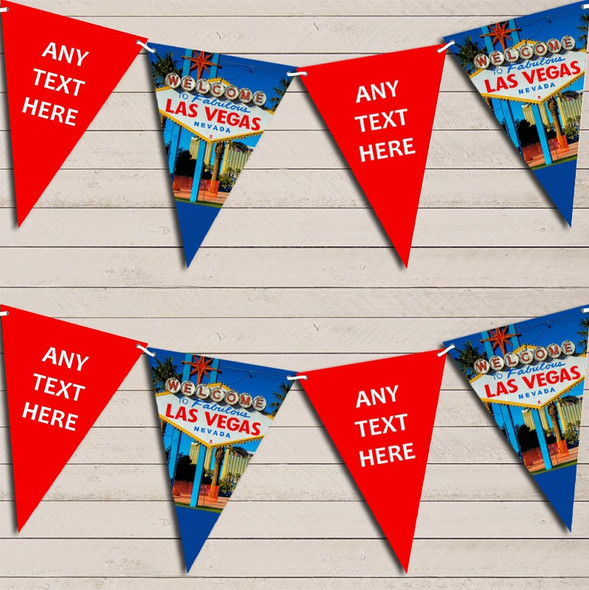 Blue Red Las Vegas Birthday Bunting Garland Party Banner
