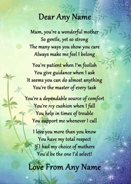 Green & Blue Wonderful Mother Personalised Poem Certificate