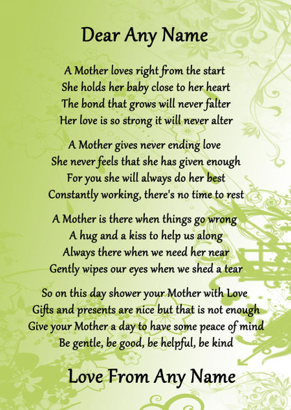 Green A Mothers Bond Personalised Poem Certificate