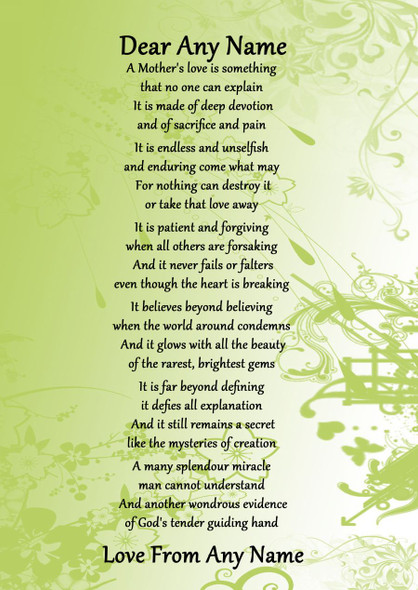 Green A Mothers Endless Love Personalised Poem Certificate