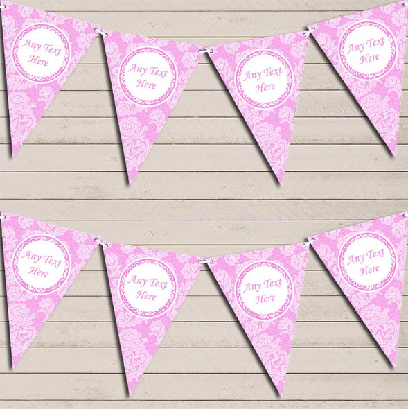 Lace Pattern Pale Baby Pink Engagement Bunting Garland Party Banner
