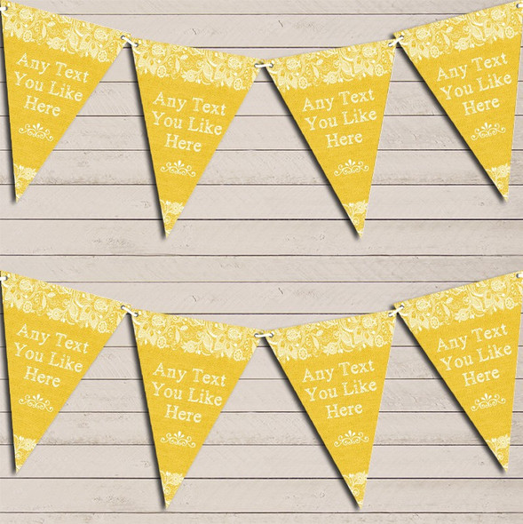 Pretty Lace Golden Yellow Engagement Bunting Garland Party Banner