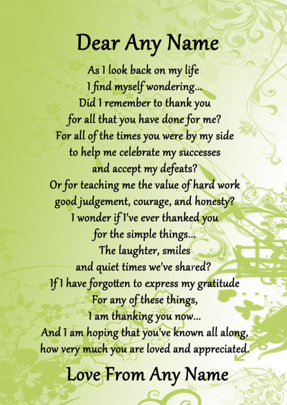 Green All You Have Done For Me Personalised Poem Certificate