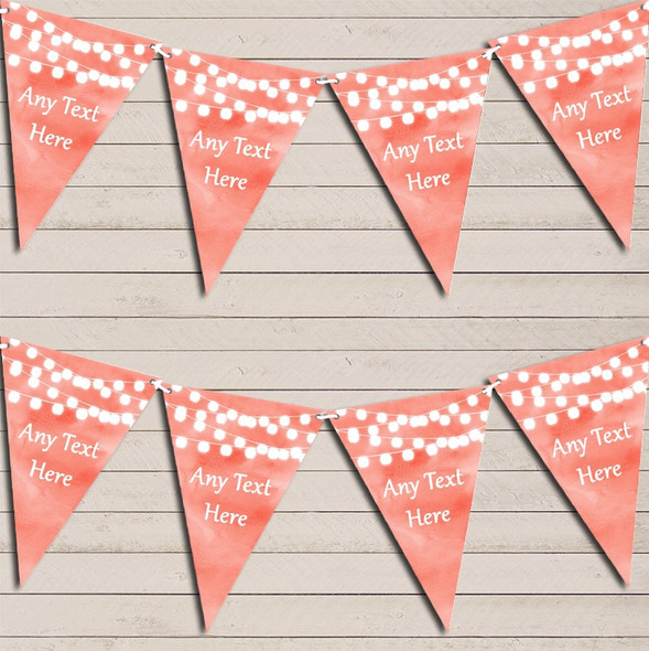 Coral Watercolour Lights Engagement Bunting Garland Party Banner