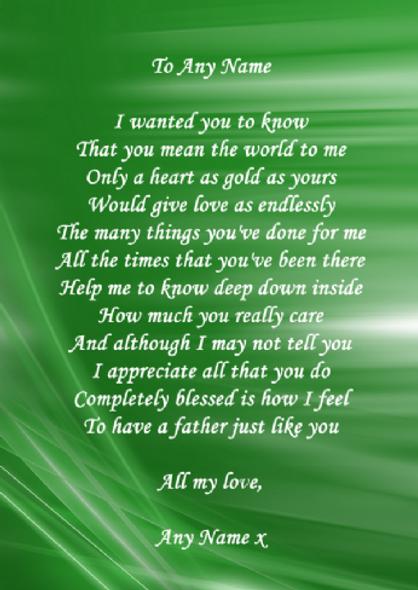 Green Dad Poem Award Personalised Certificate