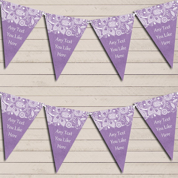 Burlap & Lace Purple Engagement Bunting Garland Party Banner
