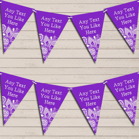 Purple Burlap & Lace Engagement Bunting Garland Party Banner