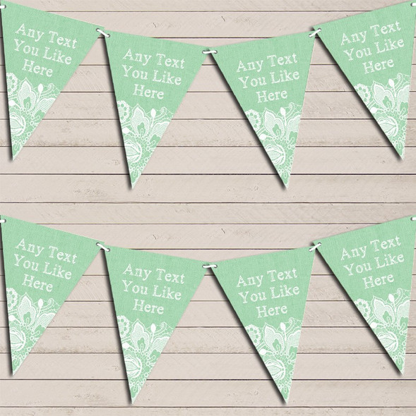 Green Burlap & Lace Engagement Bunting Garland Party Banner