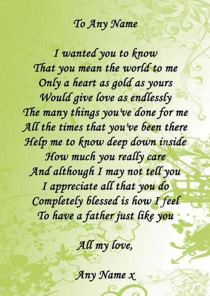 Green Floral Dad Personalised Poem Certificate