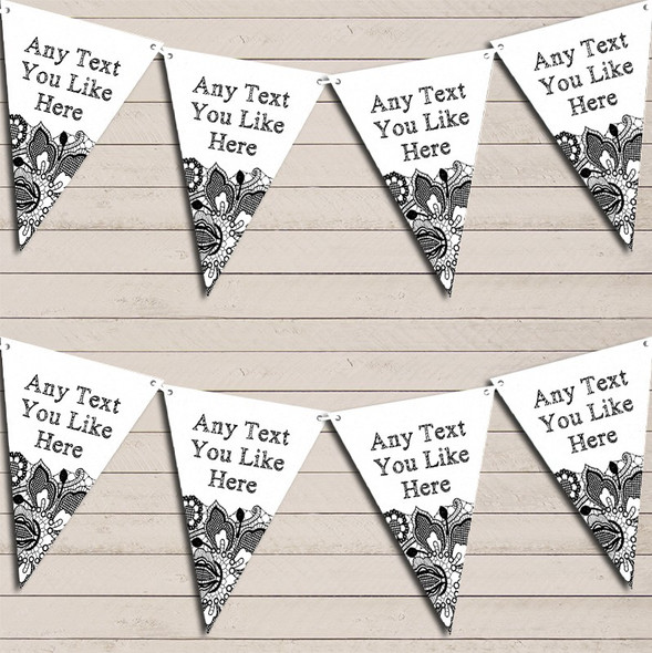 White & Black Lace Engagement Bunting Garland Party Banner