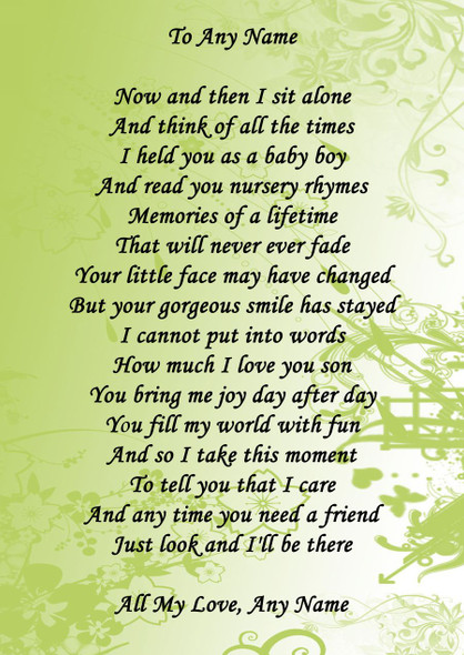 Green Floral Son Personalised Poem Certificate