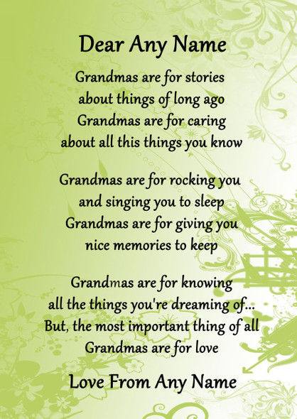 Green Grandmas Are For Love Personalised Poem Certificate
