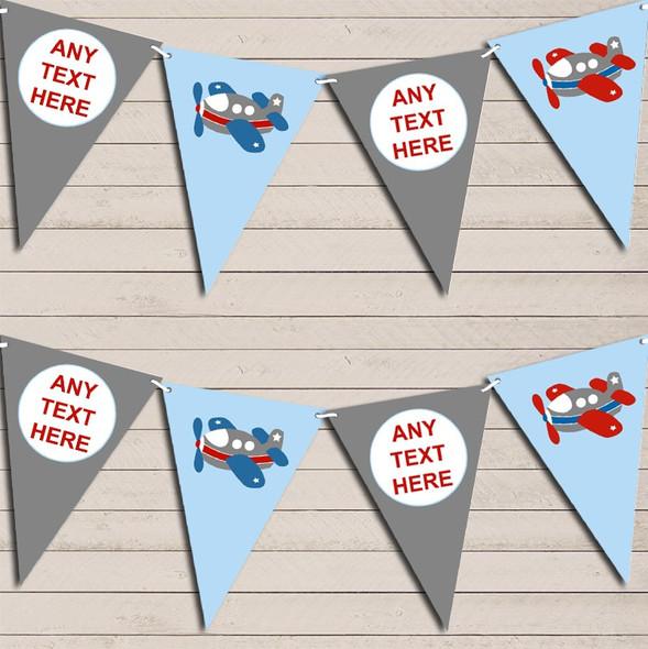Grey & Blue Plane Aeroplane Children's Birthday Bunting Garland Party Banner