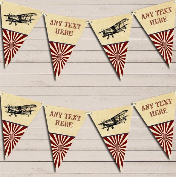 Red Vintage Plane Aeroplane Children's Birthday Bunting Garland Party Banner