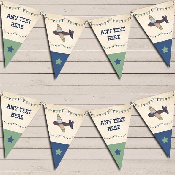 Green & Blue Vintage Plane Children's Birthday Bunting Garland Party Banner
