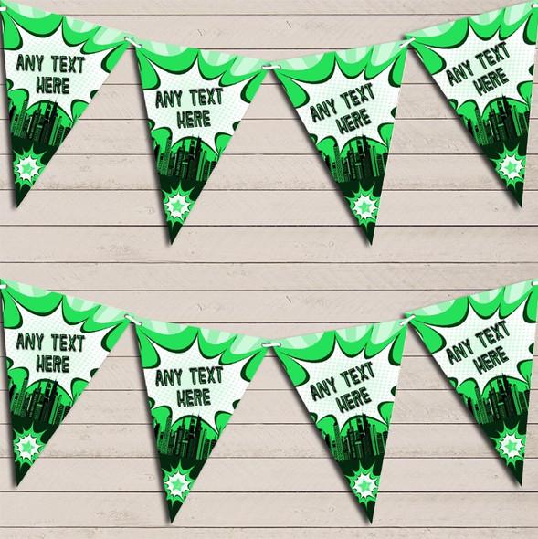 Hero Superhero Comic Green Children's Birthday Bunting Garland Party Banner