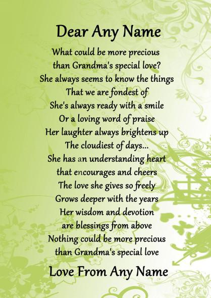 Green Grandmas Special Love Personalised Poem Certificate