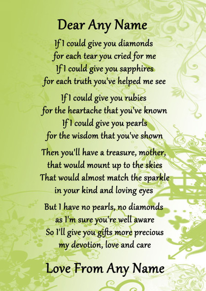 Green Mother If I Could Personalised Poem Certificate