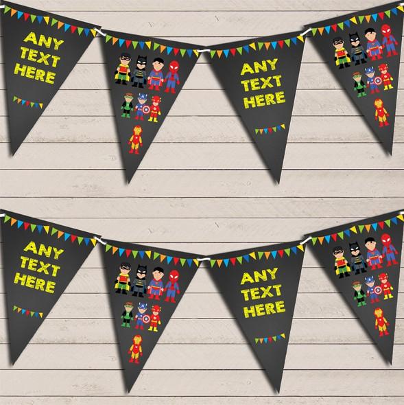 Chalk Superhero Comic Children's Birthday Bunting Garland Party Banner