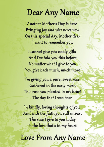 Green Mothers Day Personalised Poem Certificate