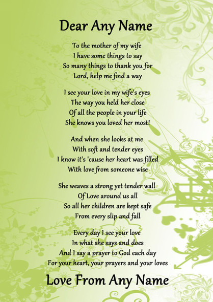 Green My Wife's Mother Personalised Poem Certificate