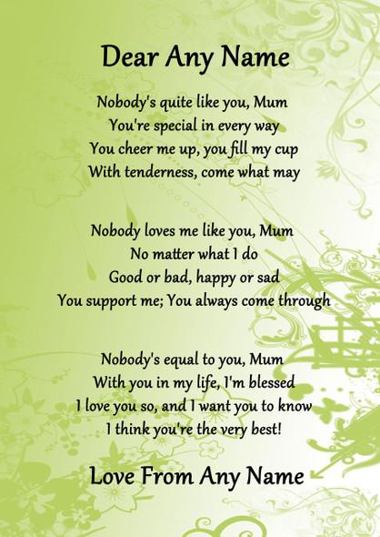 Green Nobody Like You Mum Personalised Poem Certificate