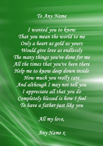 Green Swirl Dad Personalised Poem Certificate