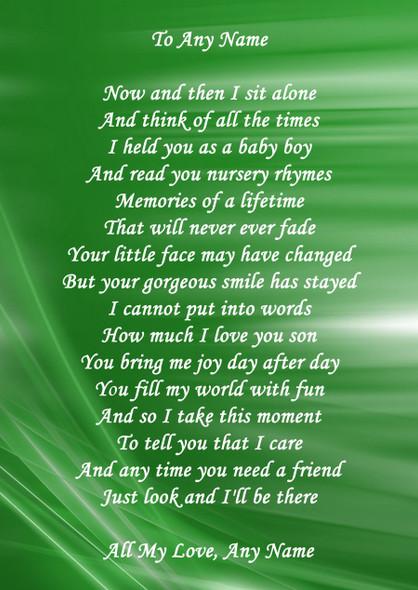 Green Swirl Son Personalised Poem Certificate