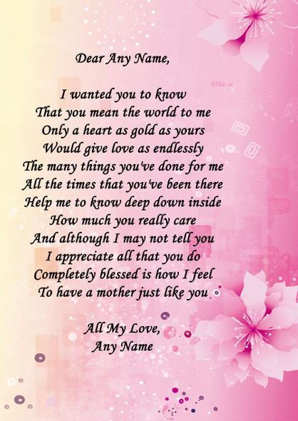 Mum Yellow Pink Personalised Poem Certificate
