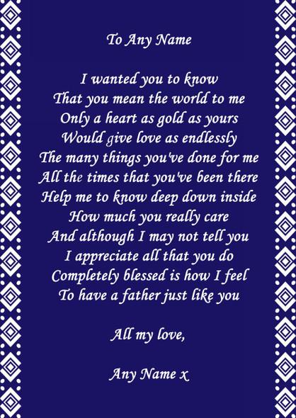 Navy Blue Dad Personalised Poem Certificate