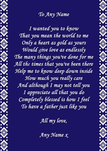 Navy Blue Dad Poem Award Personalised Certificate