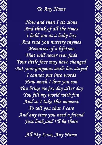 Navy Blue Son Personalised Poem Certificate