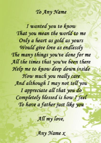 Pale Green Dad Poem Award Personalised Certificate